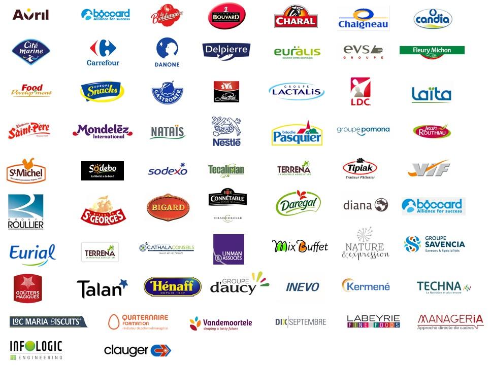 Logos des entreprises ayant participées au forum des métiers filières agroalimentaires d'Oniris